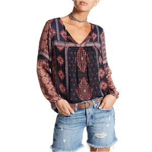 Lucky Brand Womens S Blue Boho Peasant Blouse